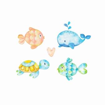 Conjunto de acuarela de peces y animales marinos marinos
