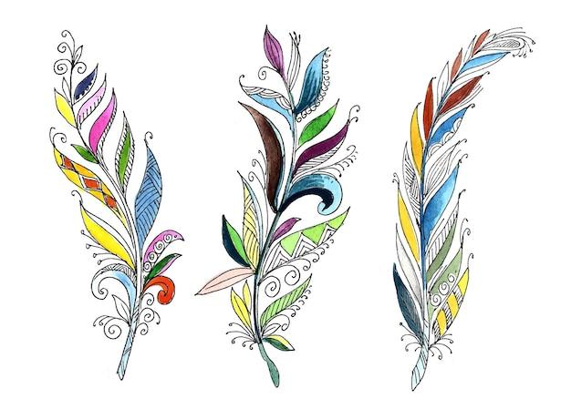 Conjunto de acuarela de plumas florales dibujadas a mano sobre fondo blanco