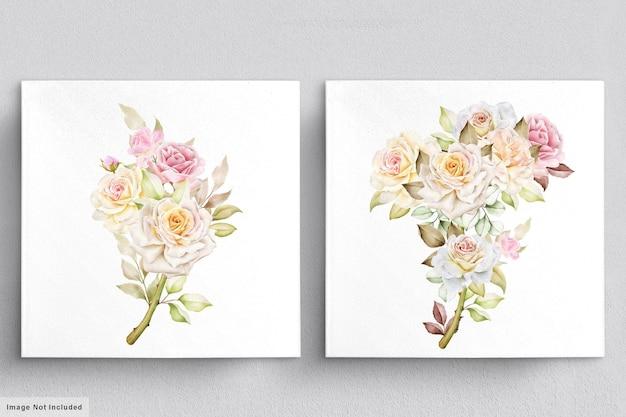 Conjunto de acuarela de ramos de flores hermosas