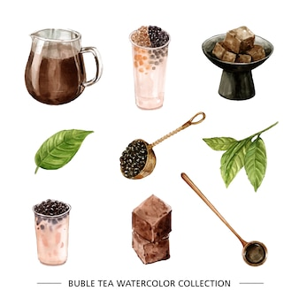 Conjunto de acuarela y té burbuja dibujado a mano