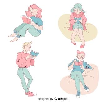 Conjunto de adolescentes leyendo en estilo de dibujo coreano