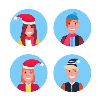 Conjunto de adolescentes sonrientes con sombrero