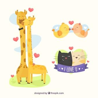 Conjunto adorable de animales enamorados