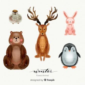 Conjunto adorable de animales invernales del bosque