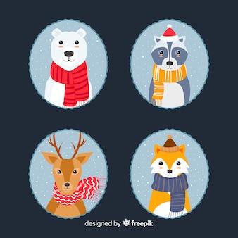 Conjunto adorable de animales invernales dibujados a mano