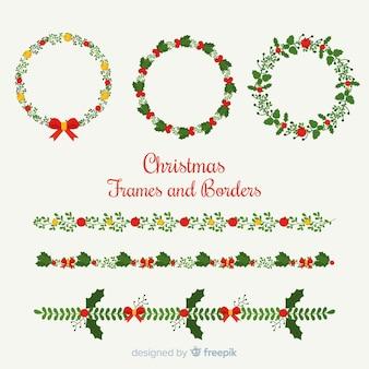 Conjunto adorable de bordes y marcos de navidad