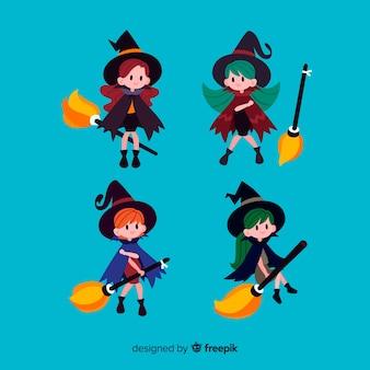 Conjunto adorable de brujas de halloween con diseño plano