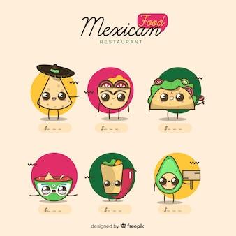 Conjunto adorable de comida mexicana