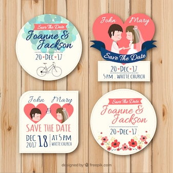 Conjunto adorable de etiquetas de boda