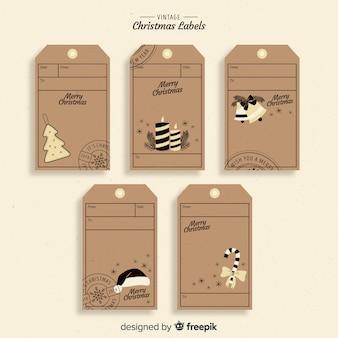 Conjunto adorable de etiquetas de navidad con estilo vintage