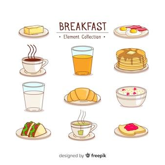 Conjunto adorable de desayunos dibujados a mano