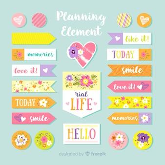 Conjunto adorable de elementos de planificación