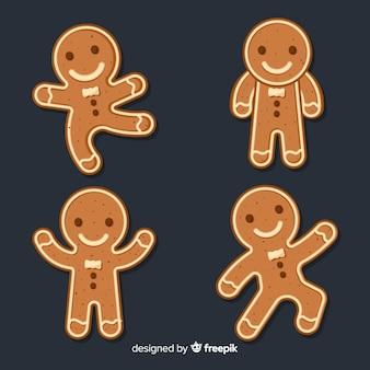 Conjunto adorable de galletas de gengíbre de navidad