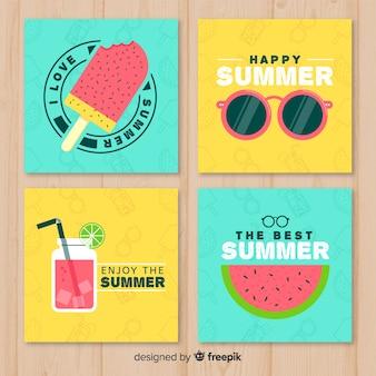Conjunto adorable de plantillas de tarjetas de verano