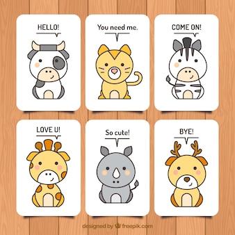 Conjunto adorable de tarjetas de animales con estilo kawai