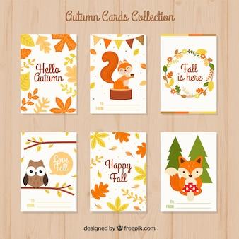 Conjunto adorable de tarjetas de otoño