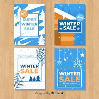 Conjunto adorable de tarjetas de rebajas de invierno