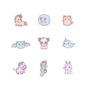 Conjunto de adorables animales bebé feliz y criaturas de cuento de hadas aislado en blanco. paquete de divertidos personajes de dibujos animados. ilustración colorida plana para niños en lindo estilo kawaii.