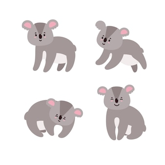 Conjunto de adorables koalas happy koalas aislado en fondo blanco.