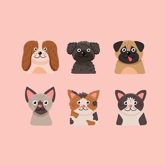 Conjunto de adorables mascotas domésticas