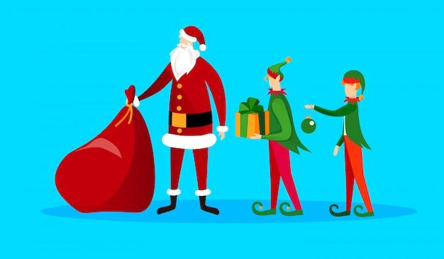 Conjunto de adorables personajes de navidad. santa y elfos
