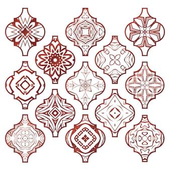 Conjunto de adorno de azulejos arabescos navideños