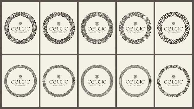 Conjunto de adorno de borde de marco trenzado de nudo celta. tamaño a4