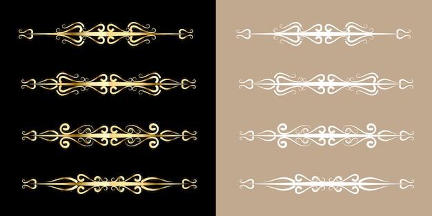 Conjunto de adorno dorado estilo vintage adorno dorado elegante decoración de arte para título y línea de libro de texto