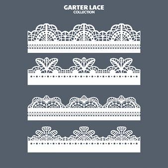 Conjunto de adorno de encaje de liga para bordado y corte láser