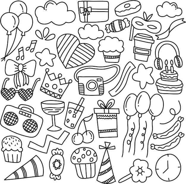 Conjunto de adorno de fiesta dibujado a mano