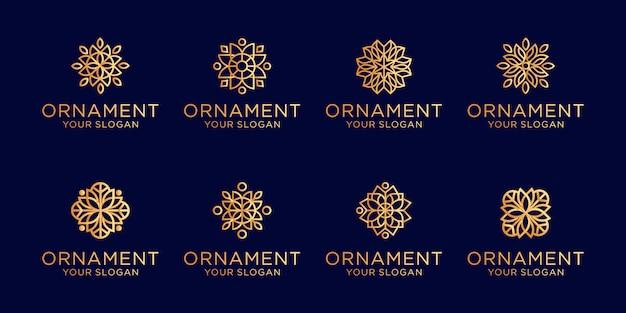 Conjunto de adorno logo línea arte estilo lujo