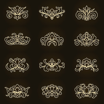 Conjunto de adornos de arte de línea floral vintage