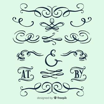 Conjunto de adornos de boda caligráficos