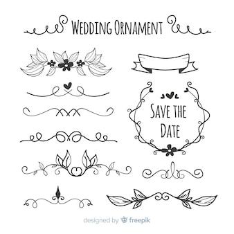 Conjunto de adornos de boda hechos a mano.