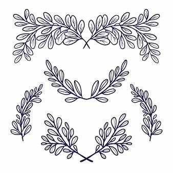 Conjunto de adornos de boda de hoja floral