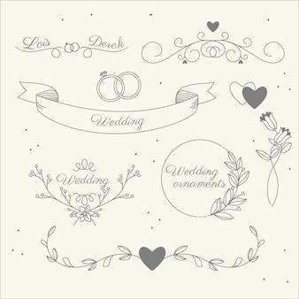 Conjunto de adornos de boda planos lineales.