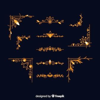 Conjunto de adornos de borde dorado