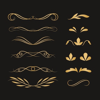 Conjunto de adornos caligráficos dorados