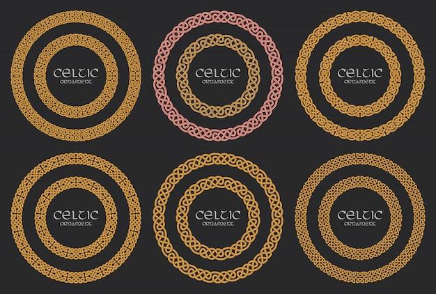 Conjunto de adornos de círculo trenzado nudo celta frontera círculo