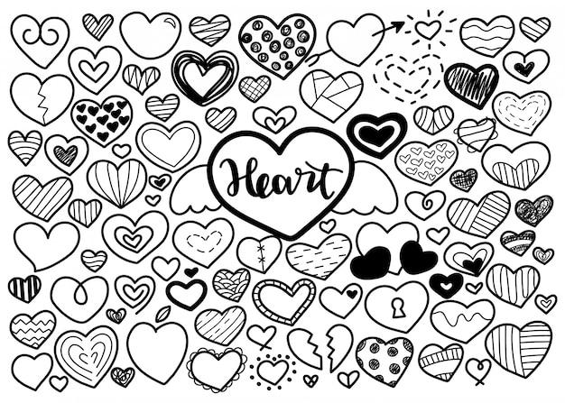 Conjunto de adornos de corazón dibujado a mano