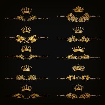 Conjunto de adornos de damasco de filigrana. elementos florales dorados, bordes, divisores, marcos, coronas.