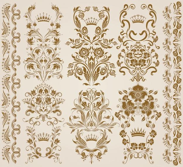 Conjunto de adornos de damasco vector, patrones.