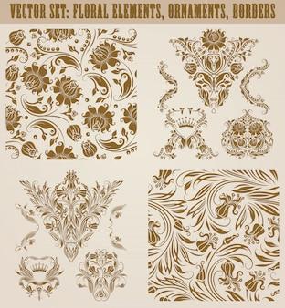 Conjunto de adornos de damasco vector.