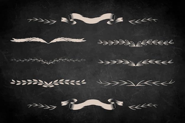 Conjunto de adornos divisores de hojas vintage dibujados a mano
