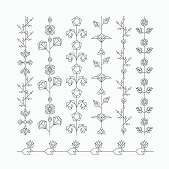 Conjunto de adornos florales geométricos sin fisuras, pinceles decorativos hipster con hojas y flores poligonales