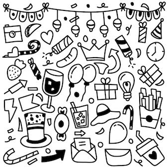 Conjunto de adornos de iconos de fiesta dibujados a mano