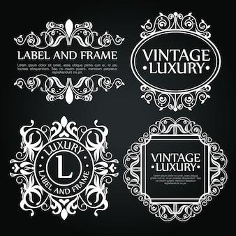 Conjunto de adornos de lujo para etiqueta, logotipo o emblema.