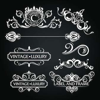 Conjunto de adornos de lujo para etiqueta o logotipo.