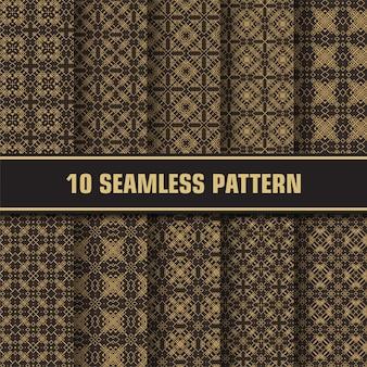 Conjunto de adornos de lujo de patrones sin fisuras