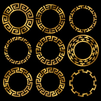 Conjunto de adornos de marco redondo griego dorado antiguo